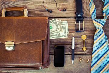 Men accessories tie, dollars, strap, pen, mobile phone, key