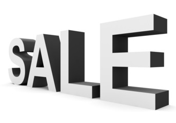 SALE - black-white 3d letters isolated on white