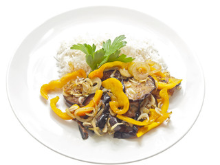 fried eggplants with baby shrimps and rice