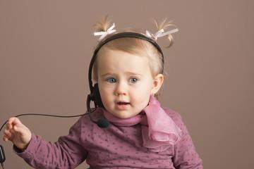 Baby girl telephone operator