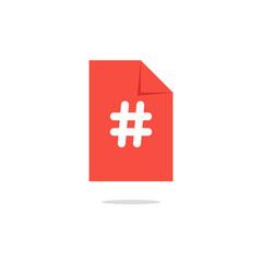 white hashtag icon on orange sheet with simple shadow