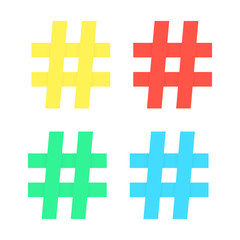 set of colored hashtag sticker