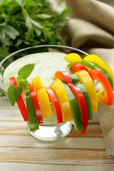 appetizer bell peppers with yogurt and herbs