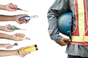 Construction worker with tools isolated white background.
