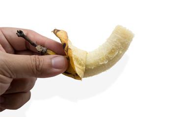 banana fruit eat bite fresh yellow peel concept