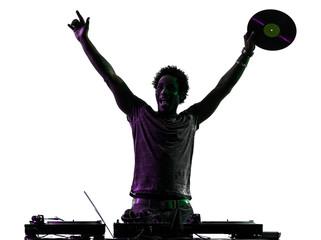 disc jockey man happy joy arms raised silhouette