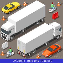 Isometric Flat 3d Vehicle Vespa Truck Set