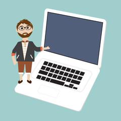 Business man presentation on laptop