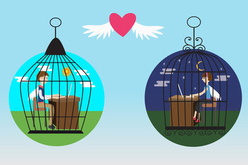 Business people in the bird cage fall in love
