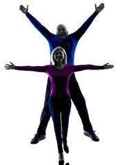 couple senior jumping happy silhouette