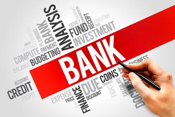 BANK word cloud, business concept