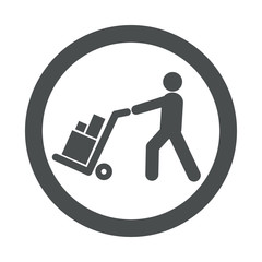 Icono redondo logistica gris