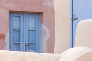 Details of houses on Santorini island, Greece