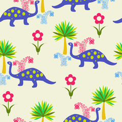 pattern with Cute Cartoon Dinosaurs
