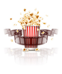 Jumping popcorn and film-strip film. Eps10 vector