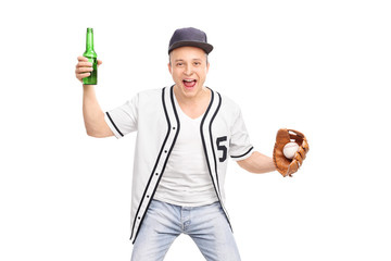 Excited baseball fan holding a beer and cheering