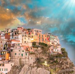 Manarola, Cinque Terre. Sunset over Five Lands, Italy