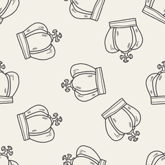 crown doodle seamless pattern background