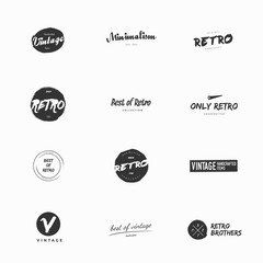 Clean and simple vintage and retro vector logos illustrations