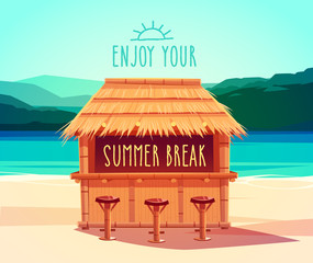 Tiki bar. Summer card / poster / template.