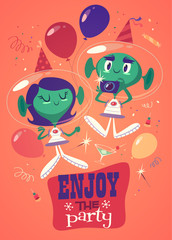 Birthday party. Retro styled card / poster / background.