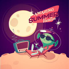 Summer vacation. Retro styled card / poster / background.