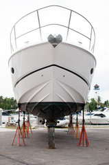Motorboat from a front view at shipyard