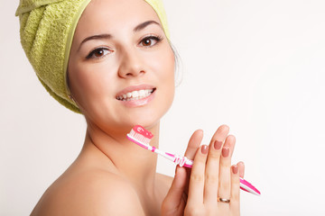 Happy woman tooth care tooth brush girl