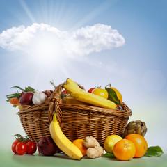 Cesto assortito di Frutta e Verdura