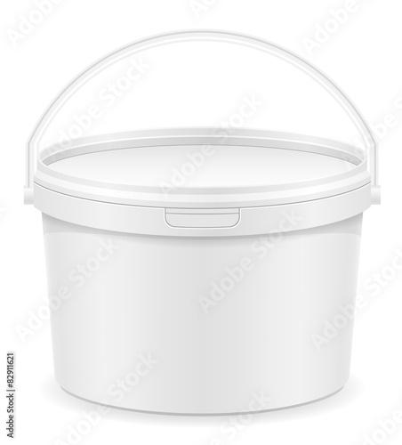 white plastic bucket for paint vector illustration