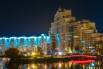 Night scene of Island of Tears In Minsk, Downtown Nemiga