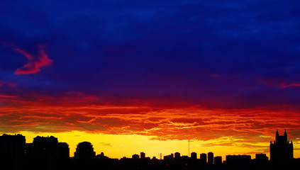 red sunset city