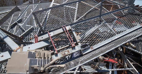 big Iron grid and ferrous material in the landfill of metallic o