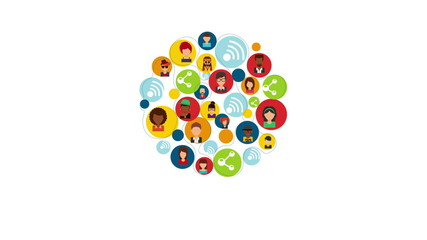 People communication icons, Video animation, HD 1080