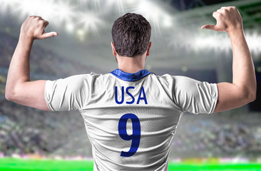 American soccer player on white background