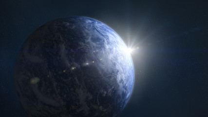 Earth with sunshine in space