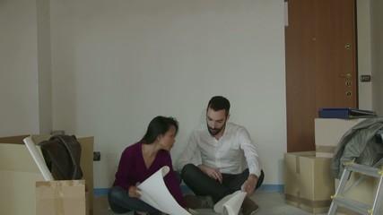 Man Woman Friends Boyfriend Girlfriend Moving To New Apartment