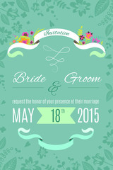 Wedding invitation card template with flowers, ribbons, hearts