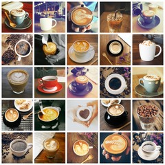 coffee collage in vintage color tone