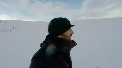 Video Selfie of young man Turist in winter Iceland