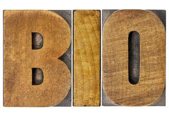 bio word in wood type
