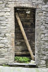Old wooden door. Color image
