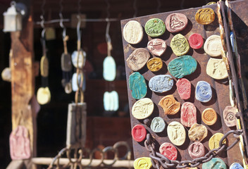 A Display of Rustic Southwest Clay Magnets