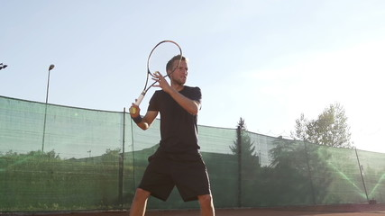 Slow Motion Of Professional Tennis Player Hitting The Ball With Forehand Stroke