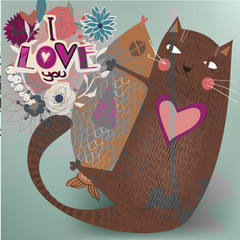 Valentine card  with cat and fish.