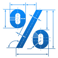 Percent symbol with dimension lines. Blueprint drawing element