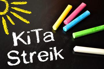 Kreidetafel mit Kita-Streik