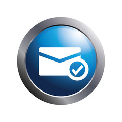 Blue button -  Check mark mail