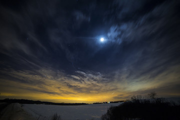 Moon and the stars in the night sky