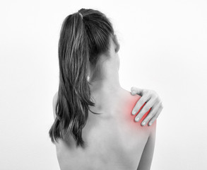 Girl having shoulder pain